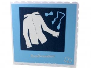 Glückwunschkarte zur Konfirmation, Konfirmationskarte für Jungen, die Karte ist ca. 15 x 15 cm  - Handarbeit kaufen