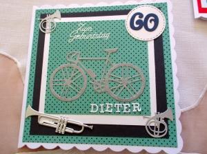 RESERVIERT, Geburtstagskarte, Fahrrad, Blasinstrumente, die Karte ist ca. 15 x 15 cm