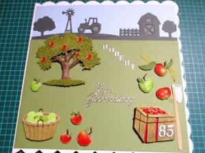 RESERVIERT, Geburtstagskarte, Äpfel, Bauer, die Karte ist ca. 15 x 15 cm