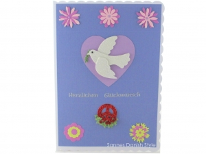 XL Geburtstagskarte mit Taube, Blumen, Lilatöne, schnell bestellen, die Karte ist ca. DIN A5 Format - Handarbeit kaufen