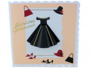 Geburtstagskarte, Grußkarte, Mode und Shoppingkarte, für die Frau, Kleid, Schuhe und Hut, die Karte ist, ca. 15 x 15 cm  - Handarbeit kaufen