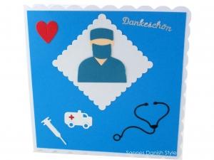 Dankeschön Karte, Grußkarte an einem Arzt oder Pfleger, Danke, die Karte ist ca. 15 x 15 cm