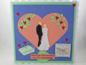 RESERVIERT, 70. Hochzeitskarte mit Brautpaar, Herzen, Ringe, die Karte ist ca. 15 x 15 cm