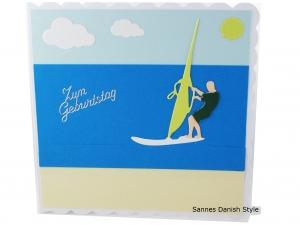 Geburtstagskarte für Windsurfer, Meer, Sonne, Wasserspaß, jetzt kaufen, die Karte ist  ca. 15 x 15 cm - Handarbeit kaufen