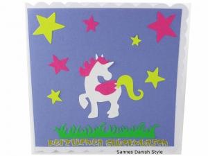Geburtstagskarte, Kinderkarte, Märchenwelt, süße Grußkarte mit Einhorn, für Mädchen und Jungs, die Karte ist ca. 15 x 15 cm  - Handarbeit kaufen