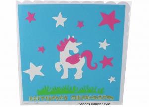 Kinderkarte, Glückwunschkarte, Grußkarte für Kinder, Geburtstagskarte, süße Grußkarte mit Einhorn, die Karte ist ca. 15 x 15 cm   - Handarbeit kaufen