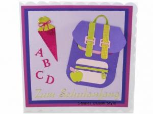 Karte Schulanfang, Grußkarte, Karte für die Schule, Einschulung, Schulranzen, Schultüte, die Karte ist 15 x 15 cm  - Handarbeit kaufen