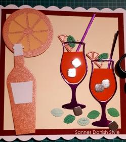 RESERVIERT, Gläser, Orange, Flasche, Eiswürfel, Minze, die Karte ist  ca. 15 x 15 cm