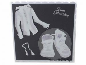 Zum Geburtstagskarte, Jungen, mit Turnschuhe und Hemd, moderne Geburtstagskarte für einen Jungen, die Karte ist ca. 15 x 15 cm  - Handarbeit kaufen