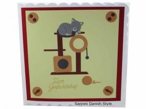 Katze Grußkarte, Geburtstagskarte mit süße Katze drauf, die Karte ist ca. 15 x 15 cm - Handarbeit kaufen