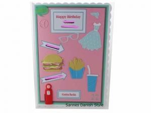RESERVIERT, Geburtstagskarte American Diner, Kleid, Burger, Pommes, die Karte hat ca. DIN A5 Format