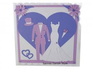 Schöne Hochzeitskarte, Frauenhochzeit, für Frauen, Hosenanzug und Brautkleid, in Flieder, Lila und Weiß, die Karte ist ca. 15 x 15 cm - Handarbeit kaufen