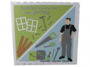 3D Geburtstagskarte für Selbstmacher, Hausbauer, Heimwerker, Grußkarte für den Mann, Die Karte ist ca. 15 x 15 cm - Handarbeit kaufen