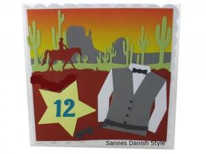 RESERVIERT, Geburtstagskarte, Glückwunschkarte, Wild West, die Karte ist ca. 15 x 15 cm