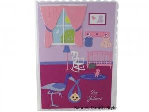 RESERVIERT, Babykarte, Zur Geburt, Grußkarte, Baby, 3D Geburtskarte, Babyzimmer, Storch, die Karte ist ca. DIN A5 Format.