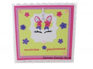 3D Geburtstagskarte für Mädchen, mit süßes Einhornkatze, Fantasykarte, Einhorn Karte für Mädchen, die Karte ist ca. 15 x 15 cm - Handarbeit kaufen