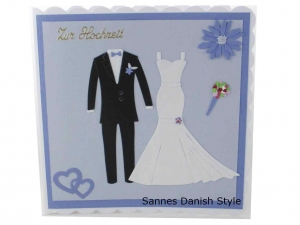 Hochzeitskarte Kirchenhochzeit, Grußkarte zur Hochzeit, schöne Glückwunschkarte mit Brautkleid und Bräutigam Anzug. Die Karte ist ca. 15 x 15 cm - Handarbeit kaufen