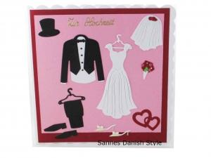 3D Hochzeitskarte Kirchenhochzeit, Grußkarte zur Hochzeit, schöne Glückwunschkarte mit Brautkleid und Anzug. Die Karte ist ca. 15 x 15 cm - Handarbeit kaufen