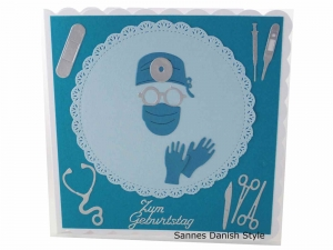 Geburtstagskarte Chirurgen, 3D Geburtstagskarte Chirurgie, für OP Ärzte, mit OP Instrumente, Handschuhe, die Karte ist ca. 15 x 15 cm - Handarbeit kaufen