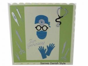 Geburtstagskarte für OP Ärzte, 3D Geburtstagskarte Chirurg, mit OP Instrumente, Handschuhe, die Karte ist ca. 15 x 15 cm - Handarbeit kaufen