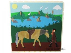 Geburtstagskarte Pferd, für Mädchen, Pferdefreunde, schöne Geburtstagskarte, Grußkarte, Glückwunschkarte, die Karte ist ca. 15 x 15 cm - Handarbeit kaufen