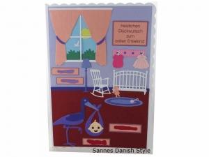 RESERVIERT, Babykarte, Zur Geburt, Grußkarte, Baby, 3D Geburtskarte, Babyzimmer, Storch, die Karte ist ca. DIN A5 Format