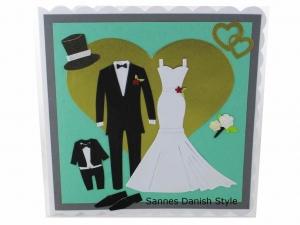 RESERVIERT Hochzeitskarte, Grußkarte zur Hochzeit, schöne Glückwunschkarte mit Brautkleid und Bräutigam Anzug. Die Karte ist ca. 15 x 15 cm