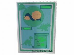 RESERVIERT, Babykarte, Zur Geburt, Grußkarte, Baby, 3D Geburtskarte, Dinos, die Karte ist ca. DIN A5 Format