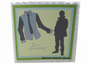Geburtstagskarte für Jungs, Zum Geburtstag, neutrale Grußkarte, Mann, Jungs, als Silhouette. Mit Hemd und Krawatte, die Karte ist ca. 15 x 15 cm - Handarbeit kaufen