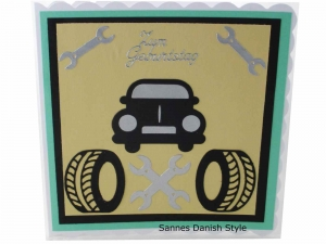 Wagen / Auto Grußkarte für Autofahrer, 3D Geburtstagskarte, 3D Autokarten, Grußkarte mit Auto, Reifen und Werkzeug, die Karte ist ca. 15 x 15 cm - Handarbeit kaufen