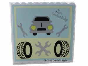 Tolle Grußkarte mit einem Wagen / Auto, Geburtstagskarte, Grußkarte, für Autofahrer, 3D Geburtstagskarte, Auto, Grußkarte mit Auto, Reifen und Werkzeug, die Karte ist ca. 15 x 15 c - Handarbeit kaufen