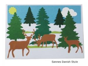 Postkarte, Postkarte mit Wintermotiv, Rehe und Tannen, schöne Geburtstagswünsche, die Postkarte hat ca. DIN A6 (14,8 x 10,5) Format - Handarbeit kaufen