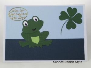 Text Postkarte, Postkarte mit Froschmotiv, Frosch und Kleeblatt, Bin in Gedanken bei dir, die Postkarte hat ca. DIN A6 (14,8 x 10,5) Format - Handarbeit kaufen