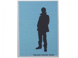 Neutrale Postkarte für einen Jungen, für Jungs, Mann an Mauer, die Postkarte ist ca. DIN A6 (14,8 x 10,5) Format - Handarbeit kaufen