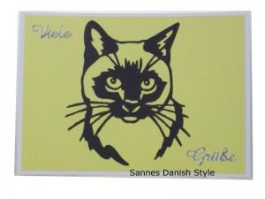 Postkarte, Postkarte mit Katzenmotiv, Katzenkopf, dunkelgraue Kopf und gelbe Hintergrund, die Postkarte ist DIN A6 (14,8 x 10,5) Format - Handarbeit kaufen