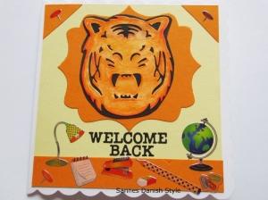RESERVIERT, Glückwunschkarte Schule ,Tiger, für Lehrer, die Karte ist ca. 15 x 15 cm