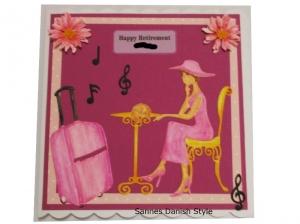 RESERVIERT, Happy Retirement, Frankreich mit Frau, Tisch, Stuhl und Hut, die Karte ist ca. 15 x 15 cm
