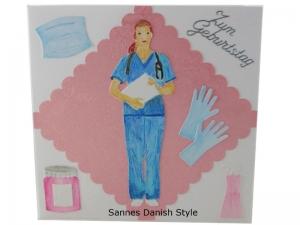 Geburtstagskarte Ärztin, Mediziner, Pflegekraft, Geburtstagskarte für Medizinbereich, die Karte ist 13,5 x 13,5 cm - Handarbeit kaufen
