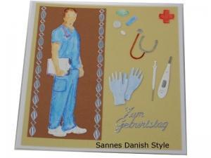 Geburtstagskarte Arzt, Ärzte, Grußkarte, Glückwunschkarte, Arzt, Mediziner, Pflegekraft, Aquarellkarte, Geburtstagskarte für Medizinbereich, die Karte ist  13,5 x 13,5 cm - Handarbeit kaufen