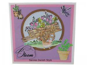 Grußkarte Frühling, Frühlingskarte mit Blumen, 3D Geburtstagskarte mit Tulpen, Aquarellkarte, die Karte ist 13,5 x 13,5 cm - Handarbeit kaufen