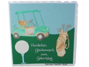 Geburtstagskarte Golfspieler, 3D Grußkarte Golfer, Golfwagen, Golftasche, Golfspielerkarte, Herzlichen Glückwunschkarte Golfkarte, die Karte ist ca. 15 x 15 cm - Handarbeit kaufen