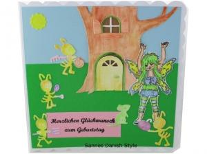 Geburtstagskarte, süße Fee, fleißige Ameisen, für groß und klein, Gute Laune Karte, die Karte ist ca. 15 x 15 cm - Handarbeit kaufen