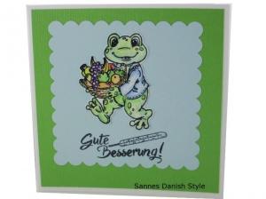 Grußkarte Gute Besserung, Gute Besserung, Frosch mit Obstkorb, Gute Besserungswünsche, die Karte ist 13,5 x 13,5 cm - Handarbeit kaufen