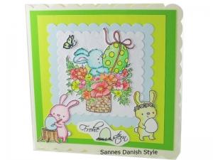 Osterkarte 3D, Osterkarte mit Hasen, süße Osterkarte, Ostereier, Blumen und Schmetterling. Schauen, kaufen und verschenken, die Karte ist ca. 15 x 15 cm - Handarbeit kaufen