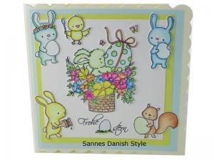 Osterkarte Osterkorb, süße Osterkarte, Ostereier, Osterhasen, Blumen und Schmetterling. Die Karte ist ca. 15 x 15 cm - Handarbeit kaufen