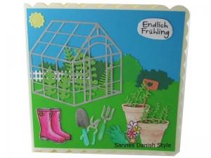 Geburtstagskarte, 3D Grußkarte für Gartenfreunde, Blumentöpfe, Gewächshaus und Gartengeräte, Aquarellkarte, die Karte ist ca. 15 x 15 cm - Handarbeit kaufen