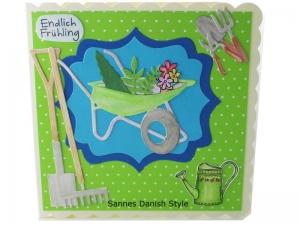 Glückwunschkarte, Geburtstagskarte, 3D Grußkarte für Gartenfreunde, Blumentöpfe und Gartengeräte, Aquarellkarte, die Karte ist ca. 15 x 15 cm - Handarbeit kaufen