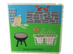 3D Frühlingskarte, Geburtstagskarte, Grußkarte für Gartenfreunde, Blumentöpfe und Gartengeräte, Aquarellkarte, die Karte ist ca. 15 x 15 cm - Handarbeit kaufen