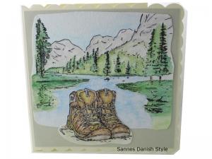 Geburtstagskarte für Wanderer, Grußkarte, Wanderkarte, Geburtstagskarte, Grußkarte Ausflug, 3D Geburtstagskarte Wandern für Wanderer mit Berge, See und Bäume,  ca. 15 x 15 cm - Handarbeit kaufen