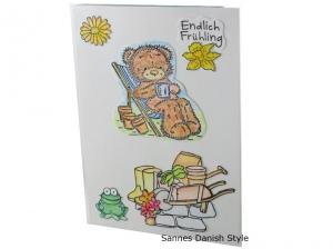 Süße Geburtstagskarte mit einem Bär, Grußkarte mit Gartenmotive, die Karte hat ca. DIN A6 (14,8 x 10,5 cm) Format - Handarbeit kaufen